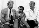 David Gower attends a press conference on the Saturday night of the Lord's Test with Micky Stewart. Gower decided that the play <i>Anything Goes</i> at the theatre was a better option, England v Australia, 2nd Test, Lord's, June 24, 1989