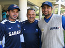 Sreesanth, Dav Whatmore and VRV Singh pose for the cameras at a NCA camp, National Cricket Academy, Bangalore, January 17, 2009