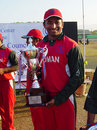 Oman's captain Hemal Mehta with the ACC Challenge Trophy, Bhutan v Oman, Asian Cricket Council Challenge final, Chiang Mai, January 21, 2009