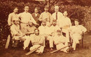 The 1876-77 squad which played the first Test against Australia at Melbourne in March 1877 pictured shortly before they left England.  Back: Harry Jupp, Tom Emmett, Alfred Hogben (a sponsor of the trip), Allan Hill, Tom Armitage. Front: Ted Pooley, James Southerton, James Lillywhite jnr, Alfred Shaw, George Ulyett, Andrew Greenwood. On ground: Harry Charlwood, John Selby.