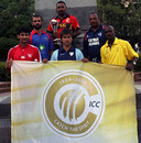 The captains with the ICC Centenary Flag