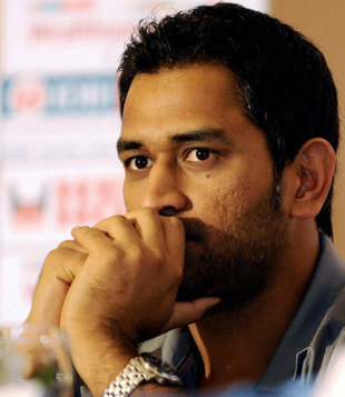 Mahendra Singh Dhoni looks on during a press conference, Colombo, January 26, 2009