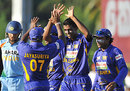 Farveez Maharoof is the center of attention after getting rid of Yuvraj Singh, Sri Lanka v India, 1st ODI, Dambulla, January 28, 2009