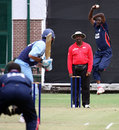 Kenute Tulloch at the top of his run-up, Argentina v Cayman Islands, World Cricket League, Buenos Aires, January 28, 2009