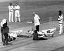 Demonstrators hold up the game by lying on the pitch, Australia v Sri Lanka, World Cup, The Oval, June 11, 1975