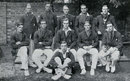 The Oxford side of 1922. Back: CJ Knott, RC Robertson-Glasgow, BH Lyon, TB Raikes, M Patten. Middle: RL Holdsworth, RH Bettington, GTS Stevens, VR Price, LP Hedges. Front: FH Barnard.