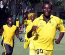 Kenneth Kamyuka leads Uganda's celebrations, Argentina v Uganda, World Cricket League Division 3, Buenos Aires, January 31, 2009