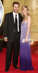 Simon Katich arrives for the 2009 Allan Border Medal with wife Georgie, Melbourne, February 3, 2009