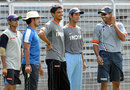 Wasim Jaffer, Cheteshwar Pujara and Siddharth Trivedi chat with other West Zone players