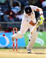 Kevin Pietersen is bowled neck-and-crop, West Indies v England, 1st Test, Kingston, February 7, 2009