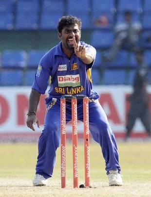 Muttiah Muralitharan belts out a confident appeal, Sri Lanka v India, 5th ODI, Premadasa Stadium, Colombo, February 8, 2009