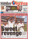 'Sweet revenge' reads the lead story in the <i>Sunday Jamaica Observer</i> after West Indies routed England, West Indies v England, 1st Test, Kingston, February 8, 2009