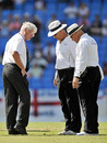 The match referee Alan Hurst inspects the pitch and run-ups with the two umpires, Daryl Harper and Tony Hill, West Indies v England, 2nd Test, St. Johns, Antigua, February 13, 2009