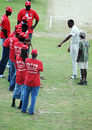 Daren Powell points to a suspect part of the bowlers' run-up on a farcical day in Antigua, West Indies v England, 2nd Test, St. Johns, Antigua, February 13, 2009