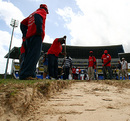 Groundsmen dig beneath the surface of the Antigua pitch and find a sandpit, West Indies v England, 2nd Test, St. Johns, Antigua, February 13, 2009