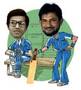 Dilip Doshi and Sandeep Patil, illustration
