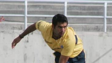 Pradeep Sangwan bowls against Punjab