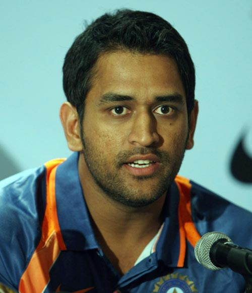 Mahendra Singh Dhoni speaks to reporters prior to the team's departure for New Zealand, Mumbai, February 18, 2008