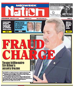 The front page of Barbados' Daily Nation on the latest Stanford crisis, February 18, 2009