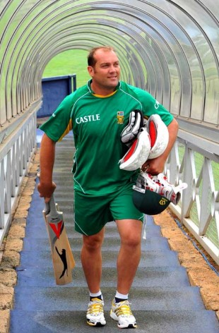 A relaxed Jacques Kallis after nets at the Wanderers, Johannesburg, February 24, 2009