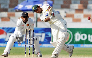 Faisal Iqbal hits out during his half-century, Pakistan v Sri Lanka, 1st Test, Karachi, 4th day, February 24, 2009