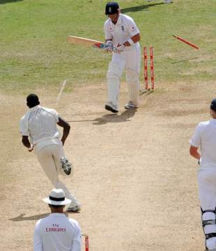 Matt Prior is bowled by Jerome Taylor, West Indies v England, first Test, Sabina Park, Kingston, February 7, 2009