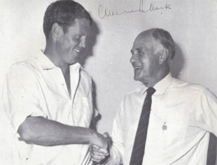 Graeme Pollock is congratulated by Dudley Nourse after his record-breaking innings