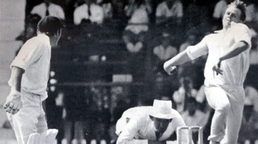 Mike Procter bowling in the third Test