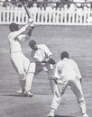 A rare attacking shot from Pieter van der Bijl in the Timeless Test. He made a first-innings hundred and was dismissed for 97 in the second innings, South Africa v England, 5th Test, Durban, March 3, 1939