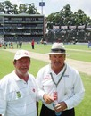 Wanderers curator Chris Scott with fourth umpire Marais Erasmus