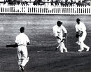 Pieter van der Bijl flicks the ball to long leg in the Timeless Test. He made a first-innings hundred and was dismissed for 97 in the second innings, South Africa v England, 5th Test, Durban, March 8, 1939