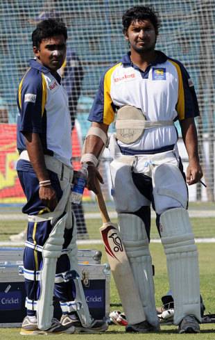 Mahela Jayawardene and Kumar Sangakkara prepare on the eve of the second Test, Lahore, February 28, 2009