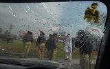 The windshield of a vehicle damaged in the firing in Lahore lies shattered, Lahore, March 3, 2009