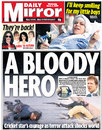 The <I>Daily Mirror</I> leads on the actions of Chris Broad during the Lahore terrorist attack, March 4, 2009
