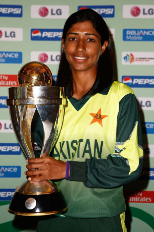 Urooj Mumtaz poses with the 2009 Women's World Cup trophy