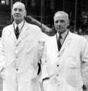 Jack Hobbs and Bert Strudwick don the umpiring duties, Surrey v Old England, The Oval, May 23, 1946