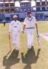 FedEx Cup 1999, Second OD: Syed Kirmani and Roger Binny coming onto the field to open the Indian innings