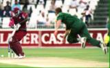 Pollock bowls to Wallace  - West Indies in South Africa, 1998-99, 1st One-Day International West Indies v South Africa The Wanderers, Johannesburg (day/night) 22 January 1999