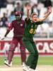 Pollock appeals (unsuccessfully) for lbw against  Wallace  - West Indies in South Africa, 1998-99, 1st One-Day International West Indies v South Africa The Wanderers, Johannesburg (day/night) 22 January 1999