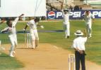 Saeed Anwar is out lbw, shouldering arms. Srinath exults as Ganguly and Laxman in the slips rush forward. India v Pakistan, Test 1, Day 1 at Chennai, 28 January 1999