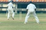 S Mahesh sends Sreekumar Nair's leg stump cart wheeling. Ranji Trophy South Zone League, 2000/01, Kerala v Tamil Nadu, Nehru Stadium, Kochi, 29Nov-02Dec 2000.
