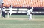 Tinu Youhanan is about to deliver the ball to JR Madanagopal. Ranji Trophy South Zone League, 2000/01, Kerala v Tamil Nadu, Nehru Stadium, Kochi, 29Nov-02Dec 2000.