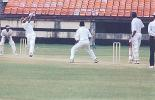 JR Madanagopal swings Suresh Kumar. Ranji Trophy South Zone League, 2000/01, Kerala v Tamil Nadu, Nehru Stadium, Kochi, 29Nov-02Dec 2000.