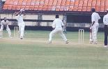 JR Madanagopal swings Suresh Kumar. Ranji Trophy South Zone League, 2000/01, Kerala v Tamil Nadu, Nehru Stadium, Kochi, 29Nov-02Dec 2000.
