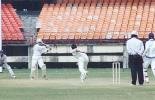 Prashanth Menon pulls R Bhatia from across the stumps