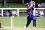 Auckland batsman Lou Vincent slams a ball in the air through the covers during his innings of 133 not out, Shell Cup: Auckland v Northern Districts at Eden Park Outer Oval, Auckland, 18 January 2001