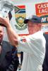 South African captain Shaun Pollock holds aloft the series trophy at the end of the third and final five day international played at Centurion Park, Pretoria 22 Januray 2001.