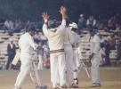 Sathpathy trudges back to the pavilion after falling leg before to Subramaniam. Ranji Trophy East Zone League 2000-01, Assam v Orissa Tinsukia District Sports Association Stadium, 4-6 Jan 2001