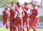 Canterbury opening bowler Ryan Burson is congratulated by team-mates after dismissing Central Districts opener David Kelly for seven, thanks to a leaping catch in the slips by Nathan Astle. 3rd Shell Cup Final: Canterbury v Central Districts at Jade Stadium, Christchurch, 28 January 2001.