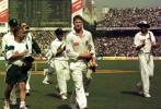 Lance Klusener leaves the field to much applause